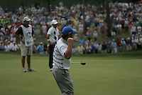 Graeme McDowell celebrates his birdie putt on the 8th during the opening fourball at Valhalla Golf Club, Louisville, Kentucky, USA - 19th September 2008 (Photo by John Hetherton/GOLFFILE)