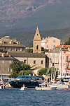 Saint Florent; Corsica, France, Mediterranean Coast, Coastal towns in Corsica, yacht harbor, sailboats,.