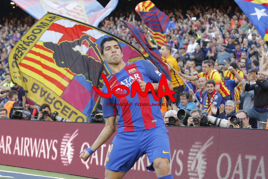 06.05.2017 Barcelona. La Liga game 31. picture show Luis Suarez after score during game between FC Barcelona against Villarreal at Camp Nou