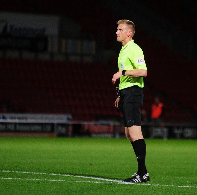 Referee Scott Oldham<br /> <br /> Photographer Andrew Vaughan/CameraSport<br /> <br /> EFL Leasing.com Trophy - Northern Section - Group H - Doncaster Rovers v Lincoln City - Tuesday 3rd September 2019 - Keepmoat Stadium - Doncaster<br />  <br /> World Copyright © 2018 CameraSport. All rights reserved. 43 Linden Ave. Countesthorpe. Leicester. England. LE8 5PG - Tel: +44 (0) 116 277 4147 - admin@camerasport.com - www.camerasport.com