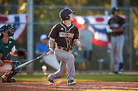 St. Bonaventure Bonnies shortstop Cole Peterson (19) at bat during a game against the Dartmouth Big Green on February 25, 2017 at North Charlotte Regional Park in Port Charlotte, Florida.  St. Bonaventure defeated Dartmouth 8-7.  (Mike Janes/Four Seam Images)