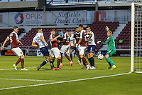 Dan Rowe of Wycombe Wanderers (2nd left) scores the opening goal during the The Checkatrade Trophy match between Northampton Town and Wycombe Wanderers at Sixfields Stadium, Northampton, England on 30 August 2016. Photo by David Horn / PRiME Media Images.