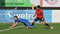 SINT ELOOIS WINKEL SPORT - SC WIJGMAAL :<br /> Pedro Ferrari Da Silva (L) gaat neer in een duel met Masis Voskanian (R)<br /> <br /> Foto VDB / Bart Vandenbroucke