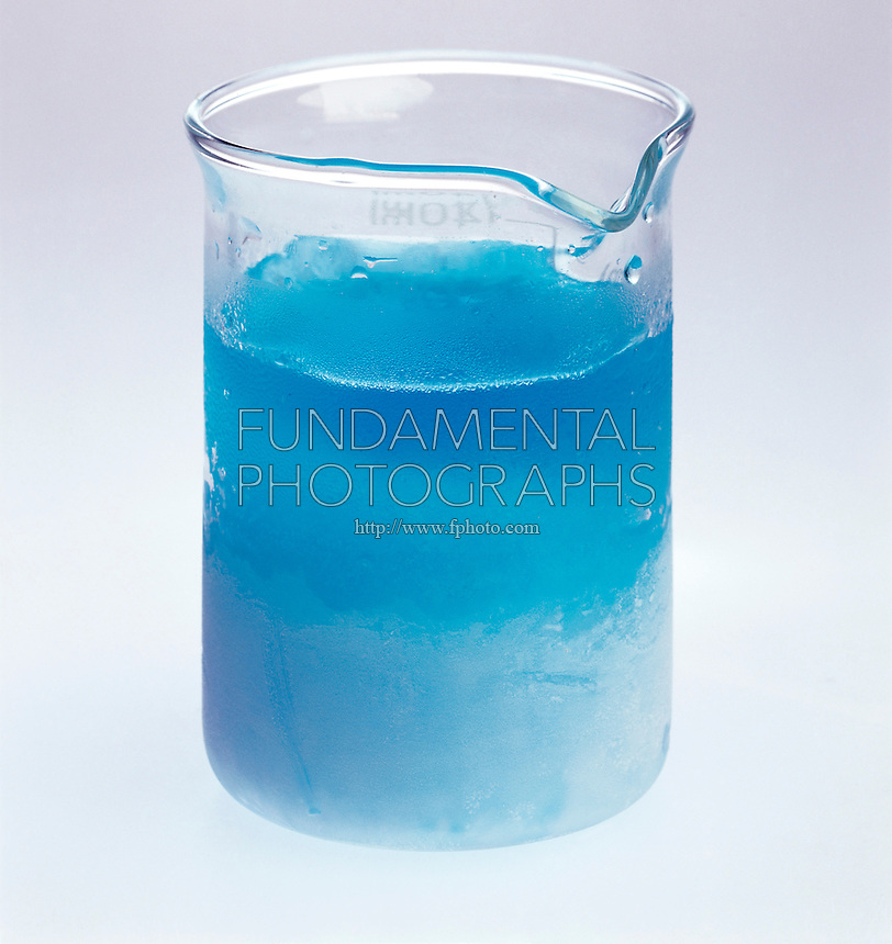 COLLIGATIVE PROPERTY: FREEZING CUPRIC SULFATE(AQ)<br /> CuSO4*5H2O (Copper II Sulfate)<br /> A nonvolatile solute (CuSO4) lowers the freezing point of the solvent, water. As the almost pure solvent freezes out, the solution becomes more concentrated and the freezing point lowers further.