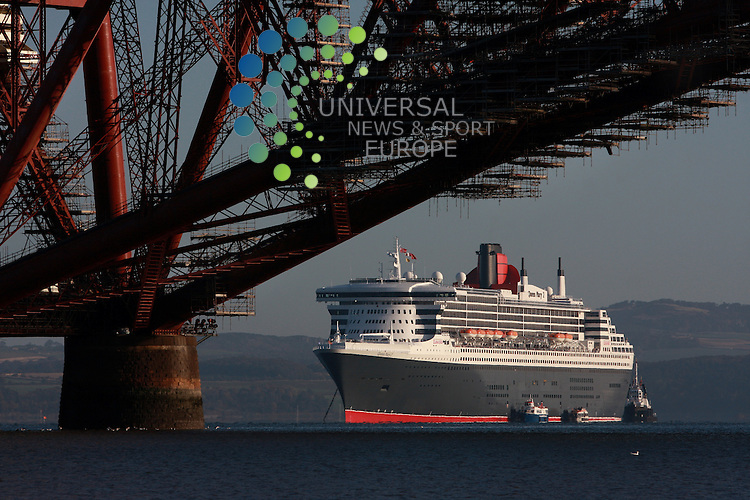 Sightseers were out in force on the  Firth of Forth today to catch a glimpse of Queen Mary 2 as she performed the latest stage of a lap of honour around Britain to mark her fifth birthday. .The birthday trip also marks the 170th anniversary of the founding of the Cunard Line itself. .Still the largest, longest, tallest, widest, most expensive ocean liner ever built, Queen Mary 2 is also the fastest passenger ship since the retirement of QE2..Picture 17 October 2009: David  CruickshanksUniversal News and Sport (Scotland)..All pictures must be credited to  www.universalnewsandsport.com.(0ffice) 0844 884 51 22.