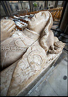 BNPS.co.uk (01202 558833)<br /> Pic: PhilYeomans/BNPS<br /> <br /> The alabaster tomb of leading Tudor knight Lord John Cheney has suffered much at the hands of graffiti artists - mainly it is thought during the Civil War when Puritan troops defaced it.<br /> <br /> Graffiti guide Steve Dunn hunts out some of the less profound iconography in the ancient cathedral.<br /> <br /> Salisbury Cathedral has taken the unusual step of launching 'Grafitti Tours' of it's 800 year old building, as part of a three year project to document the thousands of examples of centuries-old 'graffiti' which adorn the walls of the 13th century cathedral.<br /> <br /> The inside of the Cathedral in Wiltshire is covered in markings etched into its fabric by fervent, desperate or just bored visitors ranging from simple inscriptions to more intricate designs used to ward off evil spirits.  <br /> <br /> Cathedral guide Steve Dunn intends to record all the marks or 'graffiti' which in some cases date back from when the cathedral was completed in 1258.<br /> <br /> Helped by about 60 volunteers, he is collating images of the graffiti and researching the story behind them.<br /> <br /> It was believed that the demons' curiosity and stupidity would lead them to enter the circles where they would be trapped and forced to be preached at forever.