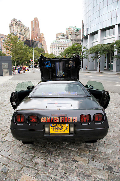 The Marine Corps-Vette, a car parked near Battery Park in New York City, New York on the 10th anniversary of the September 11th attacks on 11 September 2011 as a memorial to the victims of 9/11/01.  Former United States Marine David Sommerdorf and his wife Debra travel the country with the car to show appreciation for all veterans.
