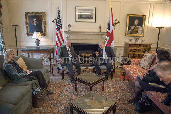 22 January 2018 - London, UK - British Foreign Secretary Boris Johnson meets his US counterpart Rex Tillerson at Mr Johnson's grace and favour home. Photo Credit: Alpha Press/AdMedia