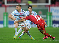 Racing 92 Finn Russell looks to off load<br /> <br /> Photographer Ian Cook/CameraSport<br /> <br /> European Rugby Champions Cup - Scarlets v Racing 92 - Saturday 13th October 2018 - Parc y Scarlets - Llanelli<br /> <br /> World Copyright &copy; 2018 CameraSport. All rights reserved. 43 Linden Ave. Countesthorpe. Leicester. England. LE8 5PG - Tel: +44 (0) 116 277 4147 - admin@camerasport.com - www.camerasport.com