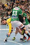Rhein Neckar Loewe Hendrik Pekeler (Nr.23)  gegen G&ouml;ppingens Jens Sch&ouml;ngarth (Nr.33) beim Spiel in der Handball Bundesliga, Rhein Neckar Loewen - FRISCH AUF! Goeppingen.<br /> <br /> Foto &copy; PIX-Sportfotos *** Foto ist honorarpflichtig! *** Auf Anfrage in hoeherer Qualitaet/Aufloesung. Belegexemplar erbeten. Veroeffentlichung ausschliesslich fuer journalistisch-publizistische Zwecke. For editorial use only.