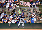L.A. Dodgers' Clayton Kershaw leaves a spring training game in Glendale, Ariz., on Saturday, March 19, 2016. <br />