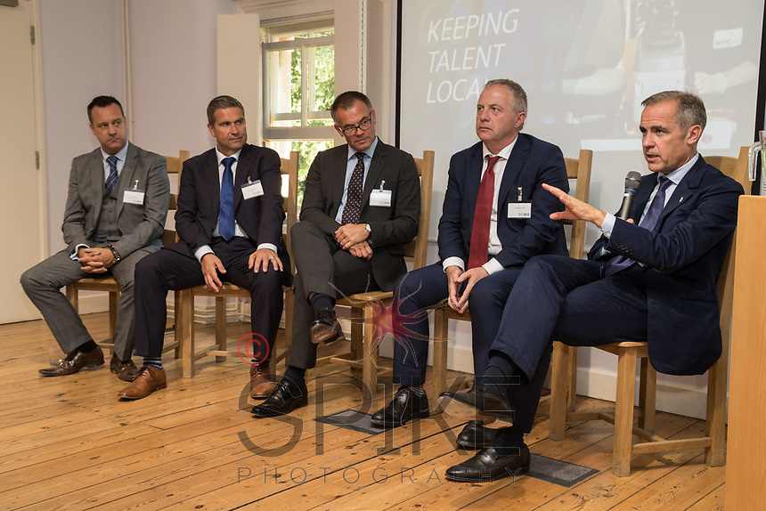 Pictured from left are Andy Price of North Notts Place Board,  Steve Bennett of TLS, Rob Mayo of East Midlands Chamber, John Mann MP and Mark Carney, Governor of the Bank of England