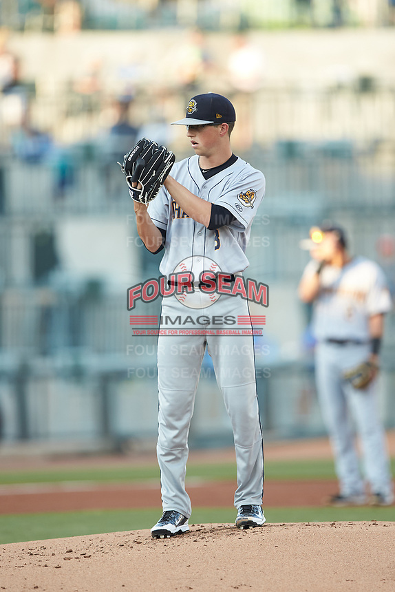 Charleston RiverDogs starting pitcher Phillip Diehl (3) looks to his catcher for the sign against the Columbia Fireflies at Spirit Communications Park on June 9, 2017 in Columbia, South Carolina.  The Fireflies defeated the RiverDogs 3-1.  (Brian Westerholt/Four Seam Images)