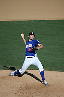 Joshua Sborz (35) of the Rancho Cucamonga Quakes pitches during a game against the Inland Empire 66ers at LoanMart Field on September 7, 2015 in Rancho Cucamonga, California. Rancho Cucamonga defeated Inland Empire, 7-6. (Larry Goren/Four Seam Images)