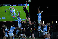 Kieran Read goes up for lineout ball during the Rugby Championship match between the New Zealand All Blacks and Argentina Pumas at Trafalgar Park in Nelson, New Zealand on Saturday, 8 September 2018. Photo: Dave Lintott / lintottphoto.co.nz