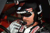 MARTINSVILLE, VA - APRIL 29: Dale Earnhardt waits to drive his GM Goodwrench Chevrolet during practice for the Hanes Activewear 500 on April 29, 1990, at Martinsville Speedway near Martinsville, Virginia.