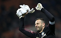 Calcio, Serie A: AC Milan - Inter Milan, Giuseppe Meazza (San Siro) stadium, Milan on 17 March 2019.  <br /> Inter's goalkeeper Samir Handanovic celebrates after winning 3- 2 the Italian Serie A football match between Milan and Inter Milan at Giuseppe Meazza stadium, on 17 March 2019. <br /> UPDATE IMAGES PRESS/Isabella Bonotto
