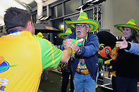 A fan congratulates Hawks coach Mark Casey after the Bowls Premier League final between the Gold Coast Hawks and Brisbane Pirates at Naenae Bowling Club in Wellington, New Zealand on Thursday, 26 April 2018. Photo: Dave Lintott / lintottphoto.co.nz