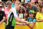 Julien Vermote (BEL) Team Dimension Data with fans at sign on before the start of Stage 13 of the 2018 Tour de France running 169.5km from Bourg d'Oisans to Valence, France. 20th July 2018. <br /> Picture: ASO/Alex Broadway | Cyclefile<br /> All photos usage must carry mandatory copyright credit (&copy; Cyclefile | ASO/Alex Broadway)
