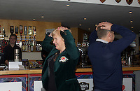 The finalists in the Heads of Tails game during the Pre-match hospitality ahead of the Greene King IPA Championship match between London Scottish Football Club and Ealing Trailfinders at Richmond Athletic Ground, Richmond, United Kingdom on 26 December 2015. Photo by Alan  Stanford / PRiME Media Images