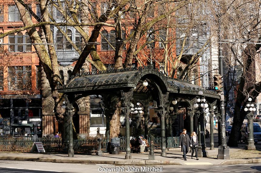Iron pergola and Pioneer Square in winter, Seattle, Washington, USA
