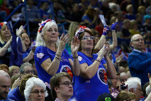 06.03.2016. Barclaycard Arena, Birmingham, England. Davis Cup Tennis World Group First Round. Great Britain versus Japan. British fans show their support during this afternoon's play.