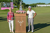 Peggy Nelson, wife of the late Byron Nelson with Sung Kang (USA) after winning the AT&T Byron Nelson, Trinity Forest Golf Club, Dallas, Texas, USA. 5/12/2019.<br /> Picture: Golffile   Ken Murray<br /> <br /> <br /> All photo usage must carry mandatory copyright credit (© Golffile   Ken Murray)