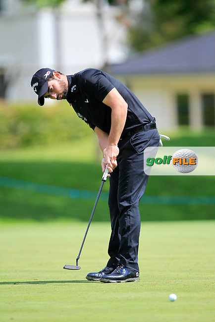 Thomas Linard (FRA) on the 15th green during Round 1 of the Dubai Duty Free Irish Open presented  by the Rory Foundation at The K Club, Straffan, Co. Kildare<br /> Picture: Golffile | Thos Caffrey<br /> <br /> All photo usage must carry mandatory copyright credit <br /> (&copy; Golffile | Thos Caffrey)