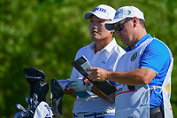 Sung Kang (USA) looks over his tee shot on 18 during round 1 of the Shell Houston Open, Golf Club of Houston, Houston, Texas, USA. 3/30/2017.<br /> Picture: Golffile | Ken Murray<br /> <br /> <br /> All photo usage must carry mandatory copyright credit (&copy; Golffile | Ken Murray)