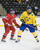 Jakub Jerabek  (Czech Republic - 15), Niclas Edman (Sweden - 5) - Sweden defeated the Czech Republic 4-2 at the Urban Plains Center in Fargo, North Dakota, on Saturday, April 18, 2009, in their final match of the 2009 World Under 18 Championship.