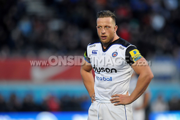 Max Lahiff of Bath Rugby looks on during a break in play. Aviva Premiership match, between Saracens and Bath Rugby on January 30, 2016 at Allianz Park in London, England. Photo by: Patrick Khachfe / Onside Images