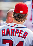 29 June 2017: Washington Nationals outfielder Bryce Harper walks the dugout during play against the Chicago Cubs at Nationals Park in Washington, DC. The Cubs rallied against the Nationals to win 5-4 and split their 4-game series. Mandatory Credit: Ed Wolfstein Photo *** RAW (NEF) Image File Available ***