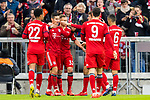 09.03.2019, Allianz Arena, Muenchen, GER, 1.FBL,  FC Bayern Muenchen vs. VfL Wolfsburg, DFL regulations prohibit any use of photographs as image sequences and/or quasi-video, im Bild Jubel nach dem Tor zum 3-0 durch James Rodriguez (FCB #11) mit Serge Gnabry (FCB #22) +fc31+Robert Lewandowski (FCB #9) Thiago (FCB #6) <br /> <br />  Foto &copy; nordphoto / Straubmeier