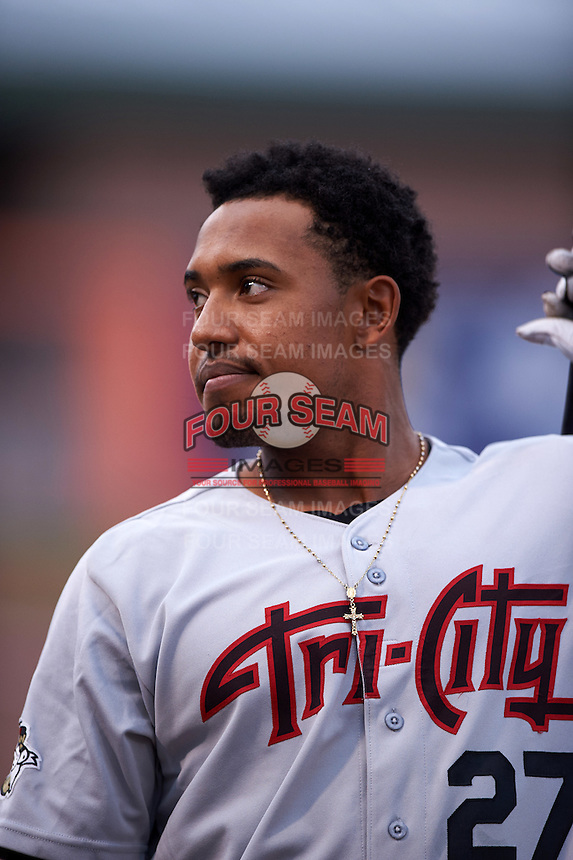 Tri-City ValleyCats first baseman Dexture McCall (27) before a game against the Aberdeen Ironbirds on August 6, 2015 at Ripken Stadium in Aberdeen, Maryland.  Tri-City defeated Aberdeen 5-0 in a combined no-hitter.  (Mike Janes/Four Seam Images)