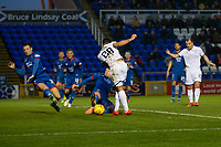 23rd November 2019; Caledonian Stadium, Inverness, Scotland; Scottish Championship Football, Inverness Caledonian Thistle versus Dundee Football Club; Coll Donaldson of Inverness Caledonian Thistle blocks a shot from Kane Hemmings of Dundee  - Editorial Use