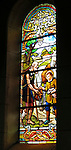 VMI Vincentian Heritage Tour:  Some of the stained glass seen inside the St. Vincent de Paul Church, Pouy France on Saturday, June 25, 2016. The site features Vincent's baptismal font. (DePaul University/Jamie Moncrief)