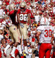 TALLAHASSEE, FL 10/31/09-FSU-NCST FB09 CH40-Florida State's Rod Owens, right, celebrates his touchdown with Jarmon Fortson during second half action against N.C. State, Saturday at Doak Campbell Stadium in Tallahassee. The Seminoles beat the Wolf Pack 45-42..COLIN HACKLEY PHOTO