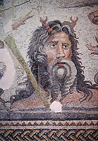 Roman Mosaic - close up river god Oceanos The Oceanos & Tethys Mosaic, fom The House of Oceanos, Zeugma.  2nd - 3rd century AD. Zeugma Mosaic Museum, Gaziantep, Turkey.<br /> <br /> The Oceanos and Tethys Mosaic is the floor mosaic of the shallow pool of the House of Oceanos. In this mosaic, which belongs to the Early Roman Empire Period, Oceanos, the river god who is the origin of life, and his wife Tethys are represented. At the middle of the mosaic which is surrounded by a geometric triple tress borders there are Oceanos and his wife Tethys. Around them there are Eros figures riding various species of fish and dolphins symbolising the abundance of the sea. The most represented attributes of Oceanos are snake and fish.<br /> <br />  in the mosaic, Oceanos is seen with chelas. Those chelas are among his most characteristic attributes. Though the tail of an eel is represented as his feet in the figures on ceramics, within the scope of the art of mosaic he is represented as a bust and only with the chelas on his head such as this one. His wife Tethys is right by his side and represented with wings upon her forehead. Between them, there is the dragon called Cetos which is a mythological sea creature. As is seen in the coins of Zeugma, the Euphrates River is expressed as a dragon. Besides these two figures, on the top-right of the mosaic, there is a young male figure which is thought to be Pan, the patron of fishermen and shepherds. The fact that Eros figures and Pan which are the side figures are located outward implies that the pool is built to allow walking around. <br /> <br /> The expression of the Oceanos as not an ocean but a river surrounding the world: By that the water, which vapours with the heat of the sun and then gives life to the nature by becoming rain, and which after being used by the nature reaches again the sea via the rivers is expressed. The water becomes aware of itself and its function by that cycle. This phenomenon is represented in the mosaic panel as the diversification of Ocen