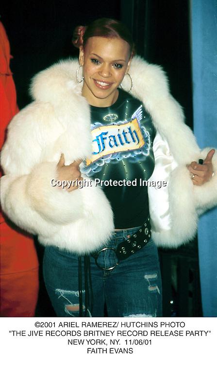 "©2001 ARIEL RAMEREZ/ HUTCHINS PHOTO.""THE JIVE RECORDS BRITNEY RECORD RELEASE PARTY"".NEW YORK, NY.  11/06/01.FAITH EVANS"