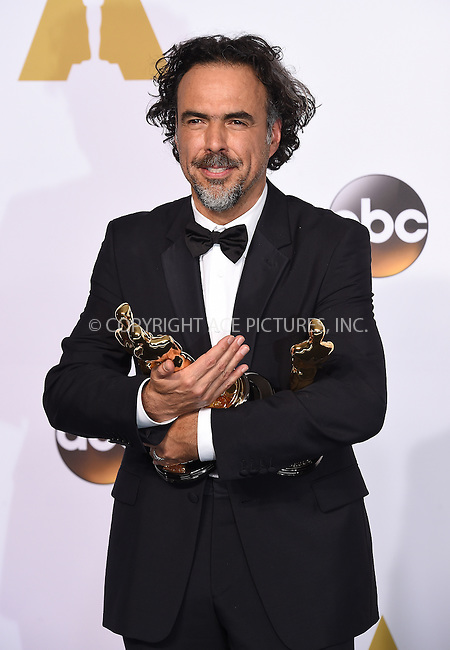 WWW.ACEPIXS.COM<br /> <br /> February 22 2015, LA<br /> <br /> Director Alejandro Gonzalez Inarritu in the press room at the 87th Annual Academy Awards at Loews Hollywood Hotel on February 22, 2015 in Hollywood, California. <br /> <br /> By Line: Z15/ACE Pictures<br /> <br /> <br /> ACE Pictures, Inc.<br /> tel: 646 769 0430<br /> Email: info@acepixs.com<br /> www.acepixs.com
