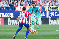 Sergio Busquets of Futbol Club Barcelona during the match of Spanish La Liga between Atletico de Madrid and Futbol Club Barcelona at Vicente Calderon Stadium in Madrid, Spain. February 26, 2017. (Rodrigo Jimenez / ALTERPHOTOS) /NortEPhoto.com