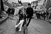 A handicapped Spanish protester (Los Indignados) camps in the tent city on Puerta del Sol square, Madrid, Spain, 7 June 2011.