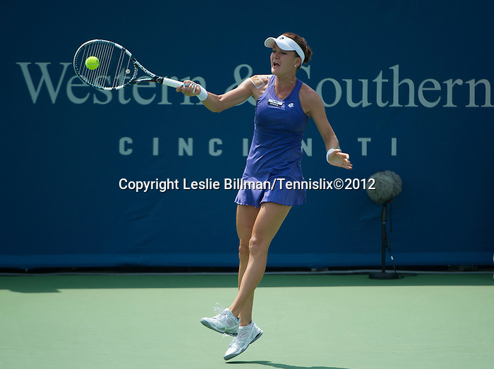 Agnieszka Radwanska (POL) moves on  at the Western and Southern Financial Group Masters Series in Cincinnati on August 16, 2012