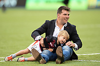 Schalk Brits of Saracens with his son after the match. Aviva Premiership match, between Saracens and Wasps on October 8, 2017 at Allianz Park in London, England. Photo by: Patrick Khachfe / JMP