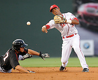 Kannapolis Intimidators designated hitter Rafael Vera (37) is put out at second by shortstop Jose Garcia (36) of the Greenville Drive on Spartanburg Night, Wednesday, May 25, 2011, at Fluor Field at the West End in Greenville, S.C. Photo by Tom Priddy / Four Seam Images
