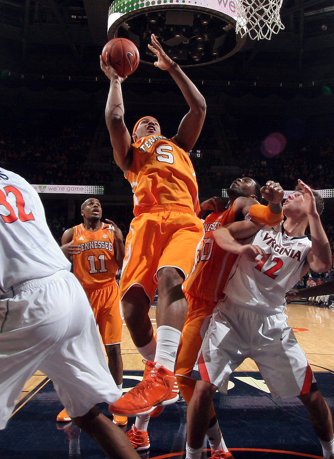 Tennessee forward Jarnell Stokes (5) shoots the ball during the game Wednesday in Charlottesville, VA. Virginia defeated Tennessee 46-38.