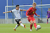 Belgian Ibe Hautekiet (16) and German Paul Nebel (11)  pictured during a friendly soccer game between the national teams Under19 Youth teams of Belgium and Germany on tuesday 8 th of September 2020  in Genk , Belgium . PHOTO SPORTPIX.BE | SPP | DIRK VUYLSTEKE