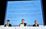 """May 1, 2011, Tokyo, Japan - Kazuo Hirai, center, of Sony Entertainment President, and two executives of Sony Corp. attend a news conference at its Tokyo headquarters on Sunday, May 1, 2011. Sony apologized for a security breach in the company PlayStation Network that caused the loss of personal data of some 77 million accounts on the online service. Sony has said it has contacted U.S. Federal Bureau of Investigation to look into what the company called """"a criminal cyber attack"""" on Sony's data center in San Diego, California. Otehr executives are, Sony Corp.'s Senior Vice Presidents Shiro Kambe, left, and Shinji Hasejima. (Photo by Natsuki Sakai/AFLO) [3615] -mis-"""
