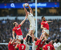 George Kruis of England beats Alun Wyn Jones and Taulupe Faletau of Wales to the ball at a lineout. RBS Six Nations match between England and Wales on March 12, 2016 at Twickenham Stadium in London, England. Photo by: Patrick Khachfe / Onside Images