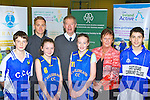 Michael O Muiracheartaigh launching the Kerry Eduactional and training board students fitness programme in Castleislans Community College was l-r: Greig Curran, Joe O'Connor ITT and Fitness Coach for the Clare Hurling team, Laura Fleming, Micheal O'Muircheartaigh, Danielle Reidy, Anne O'Sullivan Castleisland Community College Principal and Darragh Clifford